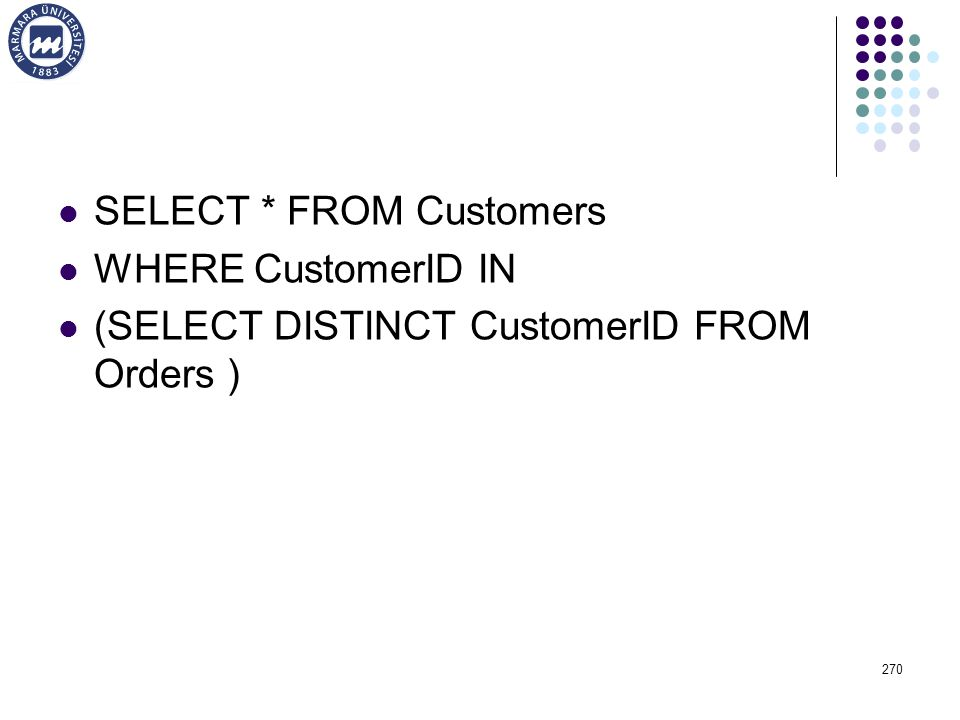 SELECT * FROM Customers WHERE CustomerID IN (SELECT DISTINCT CustomerID FROM Orders ) 270