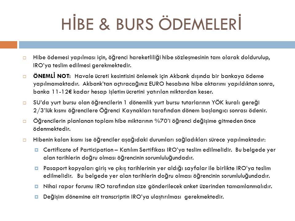 H İ BE & BURS ÖDEMELER İ  Hibe ödemesi yapılması için, ö ğ renci hareketlili ğ i hibe sözleşmesinin tam olarak doldurulup, IRO'ya teslim edilmesi gerekmektedir.