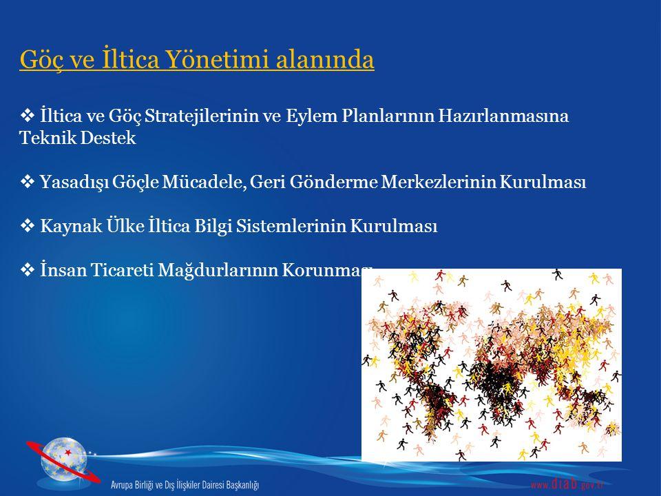 Göç ve İltica Yönetimi alanında  İltica ve Göç Stratejilerinin ve Eylem Planlarının Hazırlanmasına Teknik Destek  Yasadışı Göçle Mücadele, Geri Gönd