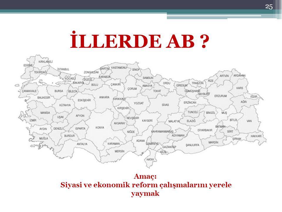 25 İLLERDE AB ? Amaç: Siyasi ve ekonomik reform çalışmalarını yerele yaymak