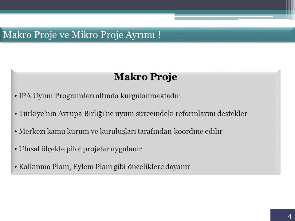 4 Makro Proje ve Mikro Proje Ayrımı ! Makro Proje IPA Uyum Programları altında kurgulanmaktadır. Türkiye'nin Avrupa Birliği'ne uyum sürecindeki reform