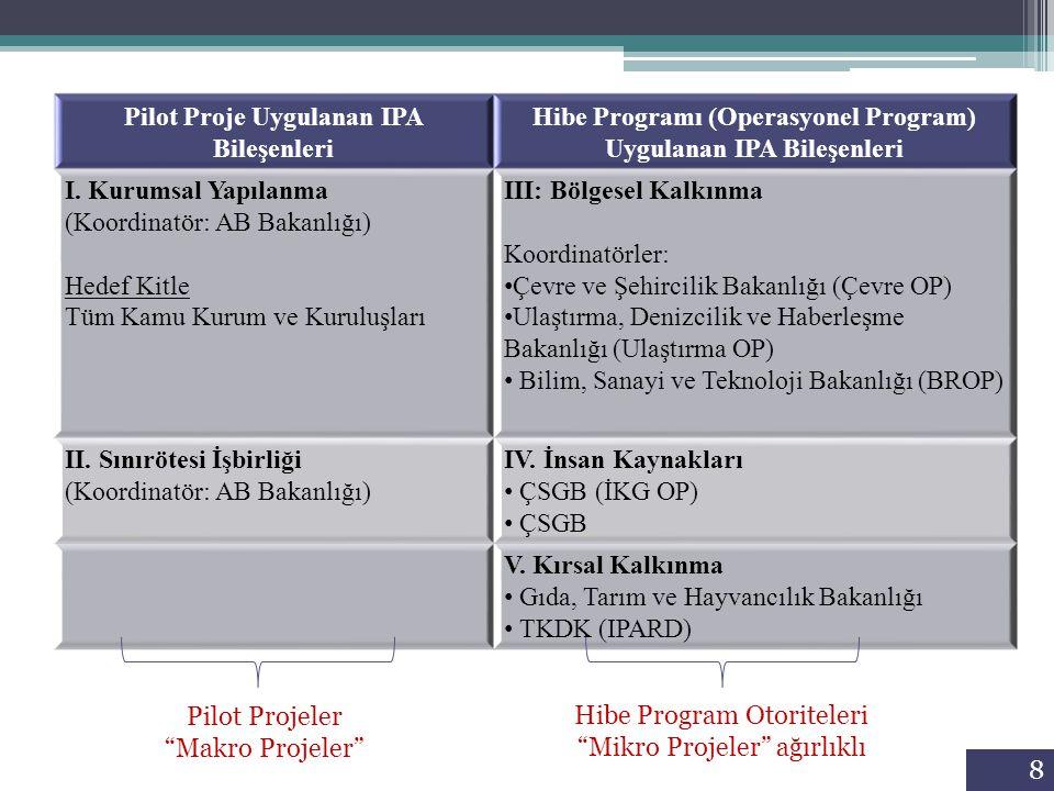 8 Pilot Proje Uygulanan IPA Bileşenleri Hibe Programı (Operasyonel Program) Uygulanan IPA Bileşenleri I. Kurumsal Yapılanma (Koordinatör: AB Bakanlığı