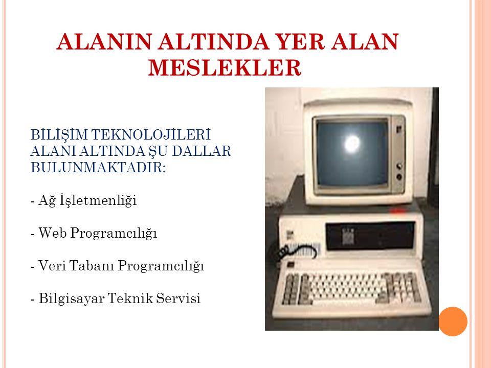 ALANIN ALTINDA YER ALAN MESLEKLER BİLİŞİM TEKNOLOJİLERİ ALANI ALTINDA ŞU DALLAR BULUNMAKTADIR: - Ağ İşletmenliği - Web Programcılığı - Veri Tabanı Pro