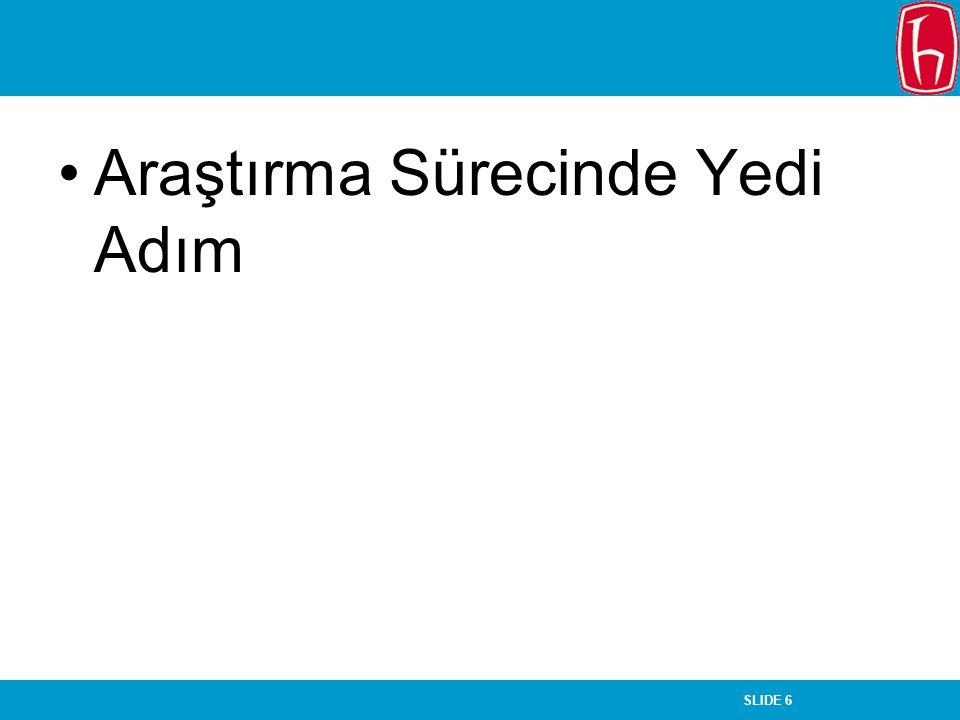 SLIDE 17 Araştırma Raporu Kapak İçindekiler Özet Giriş –Amaç –Soru cümlesi –Denenceler –Varsayımlar –Sınırlılıklar –Tanımlar –İlgili kaynaklar Literatür Değerlendirmesi Yöntem –Araştırma Modeli –Evren ve örneklem –Veri toplama –Veri Analizi Bulgular, Tartışma ve Yorum Sonuç ve Öneriler Kaynakça Ekler