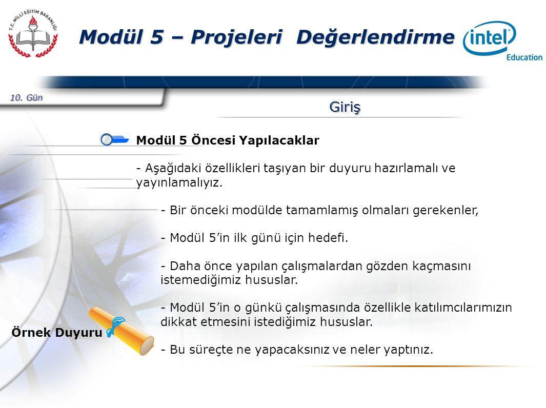 Presented By Harry Mills / PRESENTATIONPRO Modül 5 – Projeleri Değerlendirme Giriş Modül 5 Öncesi Yapılacaklar - Aşağıdaki özellikleri taşıyan bir duyuru hazırlamalı ve yayınlamalıyız.