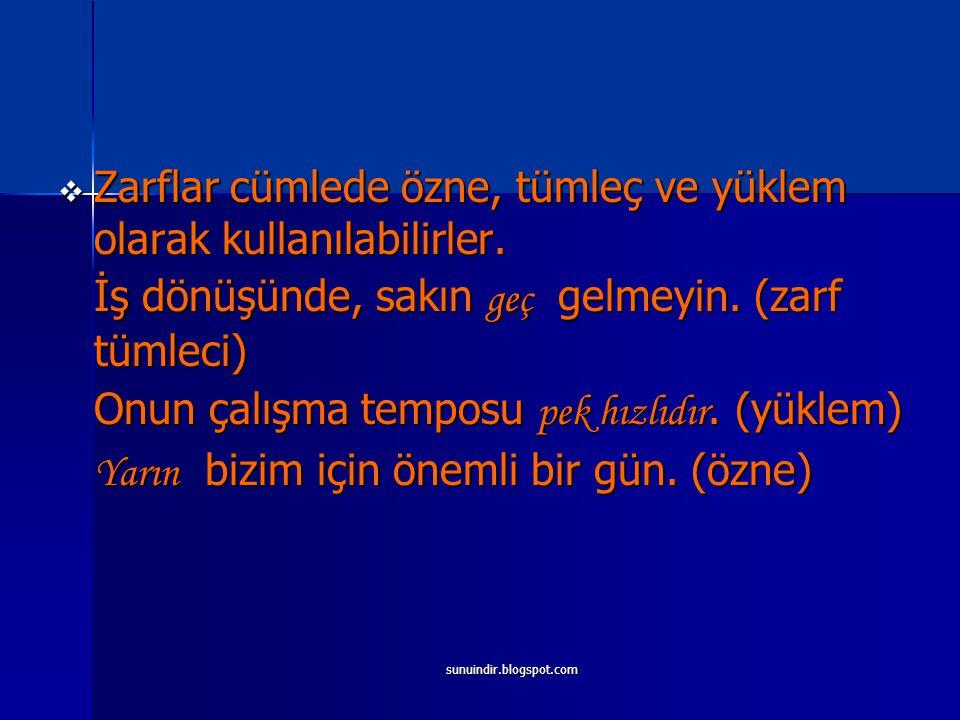 sunuindir.blogspot.com YAPILARI BAKIMINDAN ZARFLAR 1.Basit ( Yalın ) Zarflar Basit zarflar ister Türkçe ister yabancı kökenli olsun, kök veya gövde durumunda tek kelimeden oluşan zarflardır.