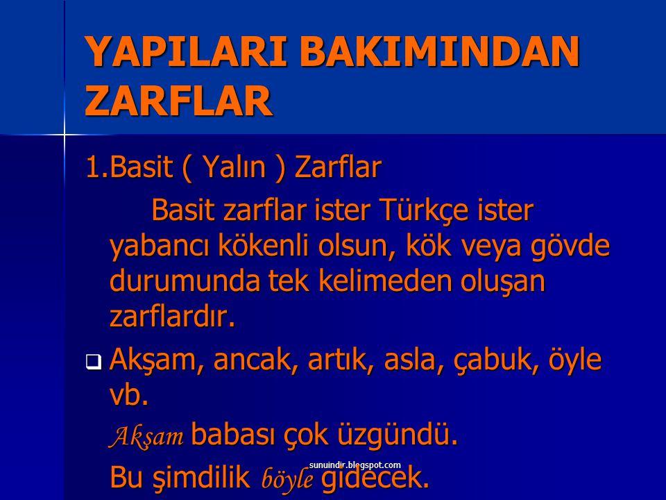 sunuindir.blogspot.com YAPILARI BAKIMINDAN ZARFLAR 1.Basit ( Yalın ) Zarflar Basit zarflar ister Türkçe ister yabancı kökenli olsun, kök veya gövde du