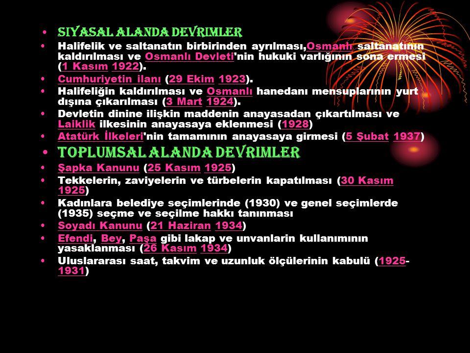 Siyasal alanda devrimler Halifelik ve saltanatın birbirinden ayrılması,Osmanlı saltanatının kaldırılması ve Osmanlı Devleti'nin hukuki varlığının sona
