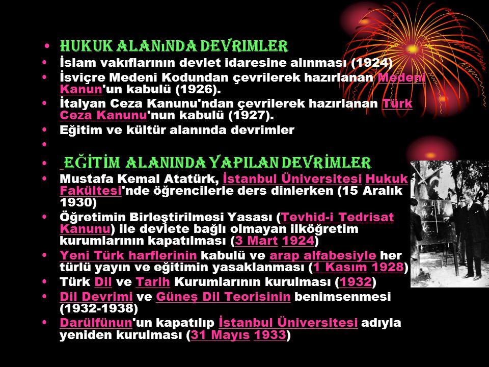 Hukuk alan ı nda devrimler İslam vakıflarının devlet idaresine alınması (1924) İsviçre Medeni Kodundan çevrilerek hazırlanan Medeni Kanun'un kabulü (1