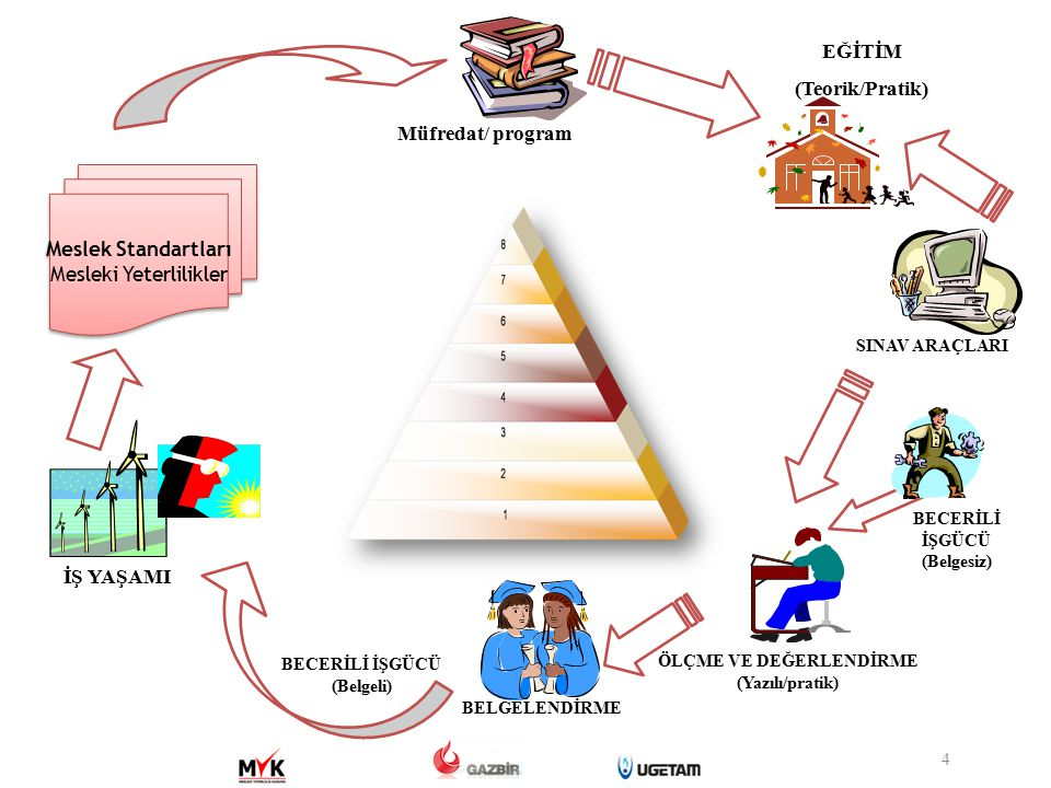 Standardı tanımlayıcı bilgiler Seviye, referans kodu, standardı hazırlayan kuruluş, standardı doğrulayan sektör komitesi, onay tarihi, revizyon no Meslek tanıtımı Meslek tanımı; uluslararası kodlama sistemindeki yeri; sağlık, güvenlik, çevre düzenlemeleri; mesleğe ilişkin mevzuat Meslek profili Görevler, işlemler, başarım ölçütleri Kullanılan araç, gereç ve ekipman Bilgi ve beceriler Turum ve davranışlar Ölçme, değerlendirme ve belgelendirme Yeterliliğin kazanılmasında uygulanacak değerlendirme usul ve esasları için çerçeve oluşturacak hüküm ler 15 UMS FORMATI