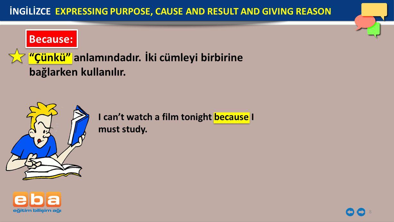 "8 Because: ""Çünkü"" anlamındadır. İki cümleyi birbirine bağlarken kullanılır. I can't watch a film tonight because I must study. İNGİLİZCE EXPRESSING P"