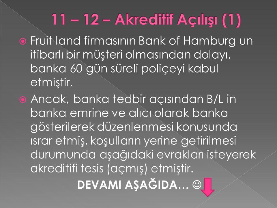  Fruit land firmasının Bank of Hamburg un itibarlı bir müşteri olmasından dolayı, banka 60 gün süreli poliçeyi kabul etmiştir.