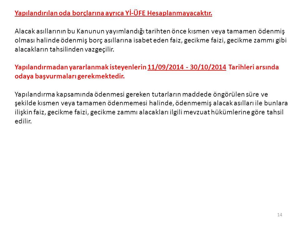 *TİCARET VE SANAYİ ODALARI VE TOBB 18/5/2004 tarihli ve 5174 sayılı Türkiye Odalar ve Borsalar Birliği ile Odalar ve Borsalar Kanununa Tabi, Oda ve borsalara olan aidat, navlun hasılatından alınacak oda payları ve borsa tescil ücreti ile oda ve borsaların da Türkiye Odalar ve Borsalar Birliğine olan aidat borçları asıllarının ödenmemiş kısmının tamamı ile bunlara bağlı faiz, gecikme faizi, gecikme zammı gibi ferî alacaklar yerine bu maddenin yürürlüğe girdiği tarihe kadar Yİ-ÜFE aylık değişim oranları esas alınarak hesaplanacak tutarın; birinci taksiti bu maddenin yürürlüğe girdiği tarihi takip eden üçüncü ayın ( 31/12/2014) sonuna kadar, kalanı üçer aylık dönemler hâlinde sekiz eşit taksitte ödemeleri hâlinde, bu alacaklara uygulanan faiz, gecikme faizi, gecikme zammı gibi ferî alacakların ve borç asıllarının bu maddenin yürürlüğe girdiği tarihten önce kısmen veya tamamen ödenmiş olması hâlinde ise ödenmiş borç asıllarına isabet eden faiz, gecikme faizi, gecikme zammı gibi ferî alacakların tahsilinden vazgeçilir.