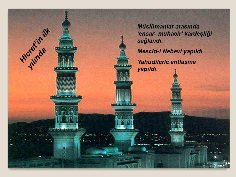 Hz Muhammed (s.a.v) Medineye geldiğinde ikinci olarak Medineli Müslümanlarla(Ensar) Mekkeli Müslümanları(Muhacir) kardeş ilan etti.