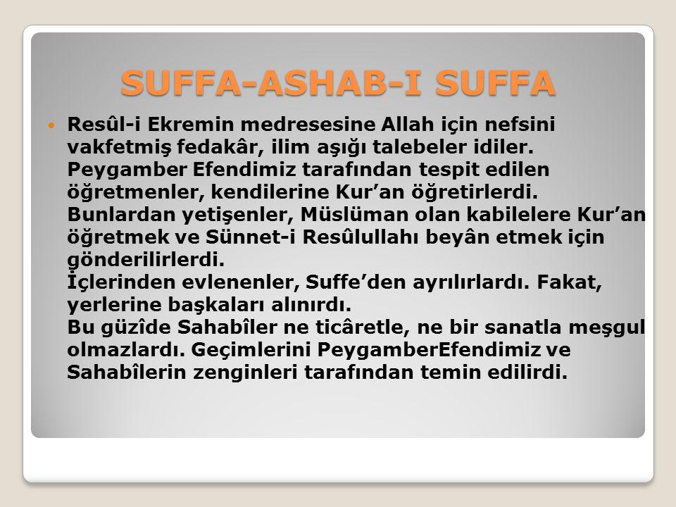 SUFFA-ASHAB-I SUFFA Kıble, henüz Kâbe tarafına çevrilmeden önce idi.
