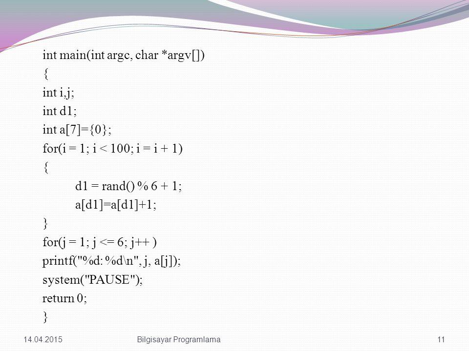 int main(int argc, char *argv[]) { int i,j; int d1; int a[7]={0}; for(i = 1; i < 100; i = i + 1) { d1 = rand() % 6 + 1; a[d1]=a[d1]+1; } for(j = 1; j <= 6; j++ ) printf( %d: %d\n , j, a[j]); system( PAUSE ); return 0; } 14.04.201511Bilgisayar Programlama