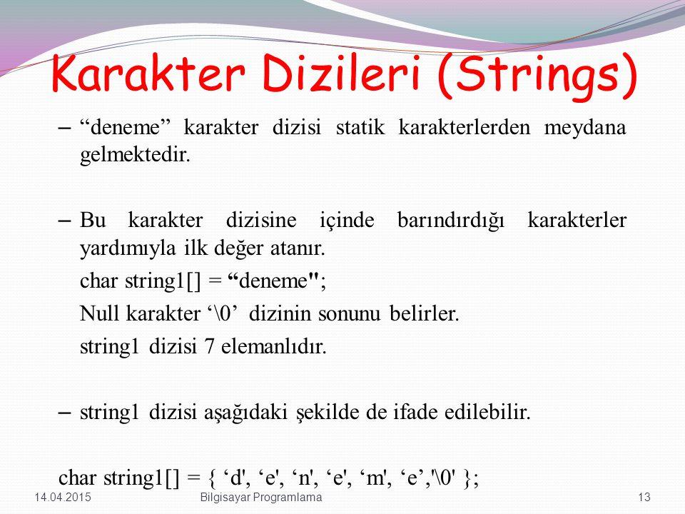 Karakter Dizileri (Strings) – deneme karakter dizisi statik karakterlerden meydana gelmektedir.