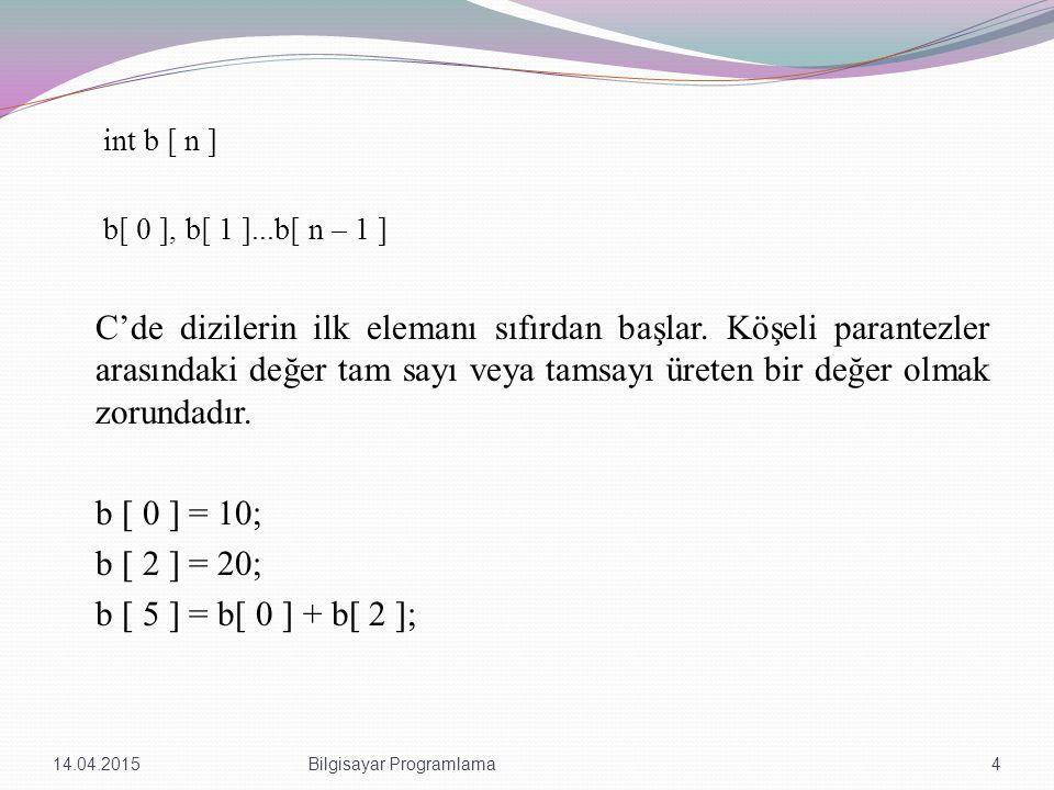 int b [ n ] b[ 0 ], b[ 1 ]...b[ n – 1 ] C'de dizilerin ilk elemanı sıfırdan başlar. Köşeli parantezler arasındaki değer tam sayı veya tamsayı üreten b