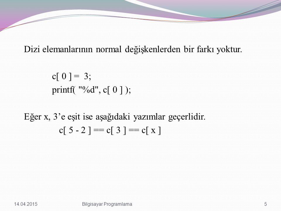 int i; for(i = 0; i+5 < 100; i = i + 1) a[i] = 0; Daha öncede bahsedildiği gibi köşeli parantezler içindeki ifade tamsayı veya tamsayı değer üreten bir ifade olmalıdır.