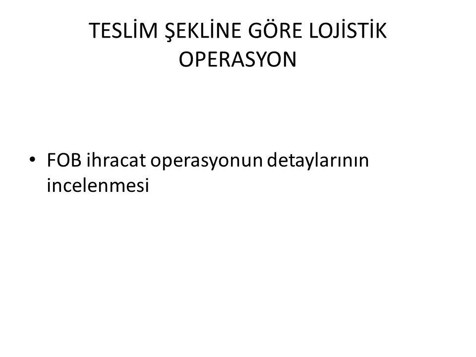 TESLİM ŞEKLİNE GÖRE LOJİSTİK OPERASYON FOB ihracat operasyonun detaylarının incelenmesi