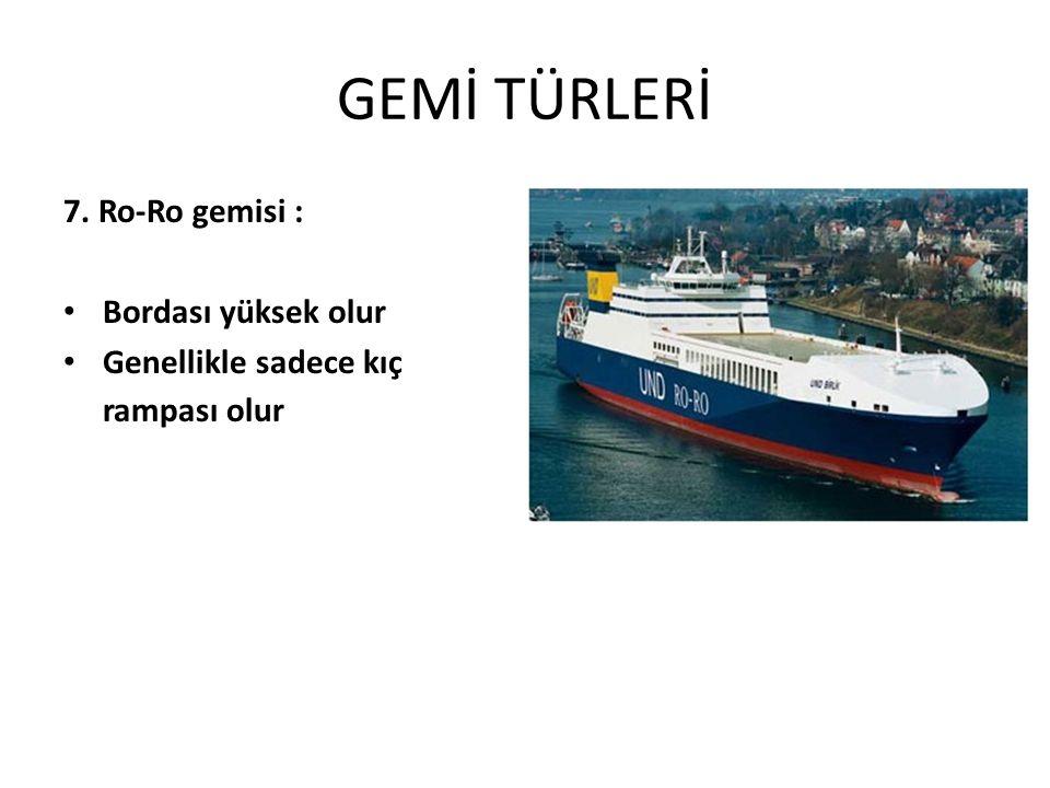 GEMİ TÜRLERİ 7. Ro-Ro gemisi : Bordası yüksek olur Genellikle sadece kıç rampası olur