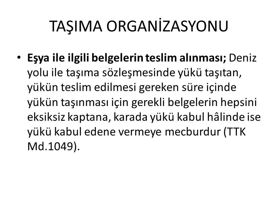 TAŞIMA ORGANİZASYONU Eşya ile ilgili belgelerin teslim alınması; Deniz yolu ile taşıma sözleşmesinde yükü taşıtan, yükün teslim edilmesi gereken süre