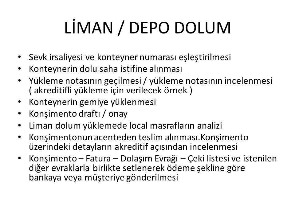 LİMAN / DEPO DOLUM Sevk irsaliyesi ve konteyner numarası eşleştirilmesi Konteynerin dolu saha istifine alınması Yükleme notasının geçilmesi / yükleme