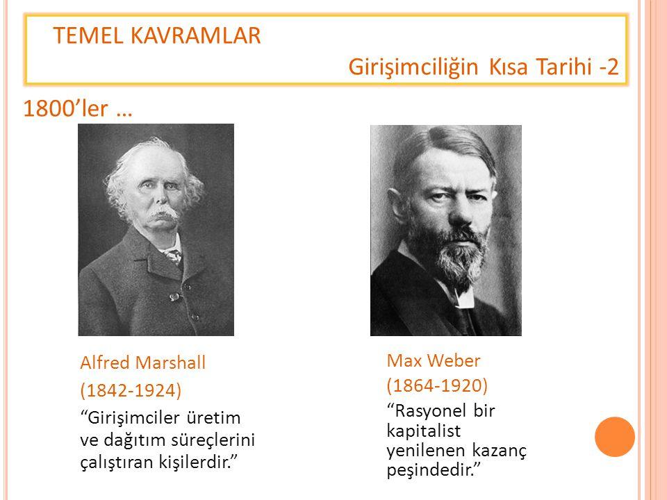 """TEMEL KAVRAMLAR Girişimciliğin Kısa Tarihi -2 Alfred Marshall (1842-1924) """"Girişimciler üretim ve dağıtım süreçlerini çalıştıran kişilerdir."""" 1800'ler"""