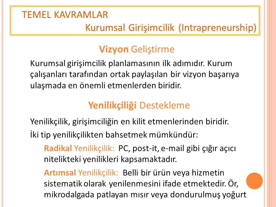 TEMEL KAVRAMLAR Kurumsal Girişimcilik (Intrapreneurship) Kurumsal girişimcilik planlamasının ilk adımıdır. Kurum çalışanları tarafından ortak paylaşıl