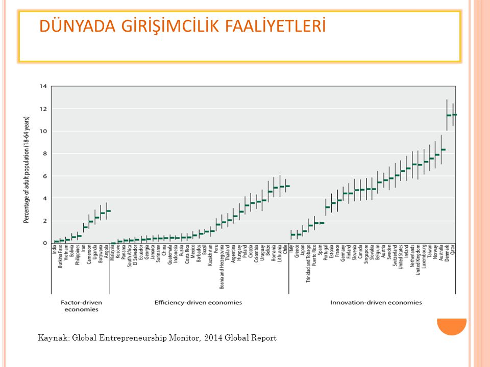 DÜNYADA GİRİŞİMCİLİK FAALİYETLERİ Kaynak: Global Entrepreneurship Monitor, 2014 Global Report