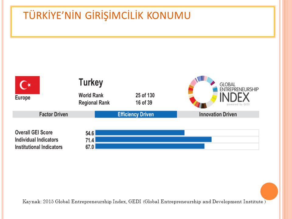 TÜRKİYE'NİN GİRİŞİMCİLİK KONUMU Kaynak: 2015 Global Entrepreneurship Index, GEDI (Global Entrepreneurship and Development Institute )