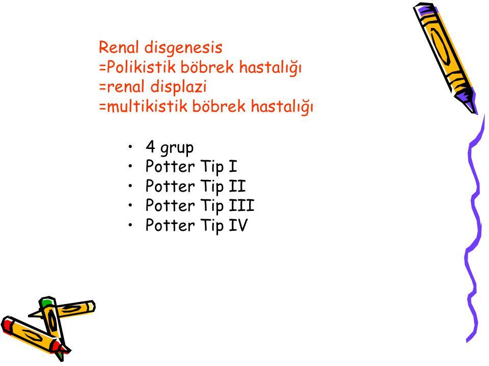 Renal disgenesis =Polikistik böbrek hastalığı =renal displazi =multikistik böbrek hastalığı 4 grup Potter Tip I Potter Tip II Potter Tip III Potter Tip IV