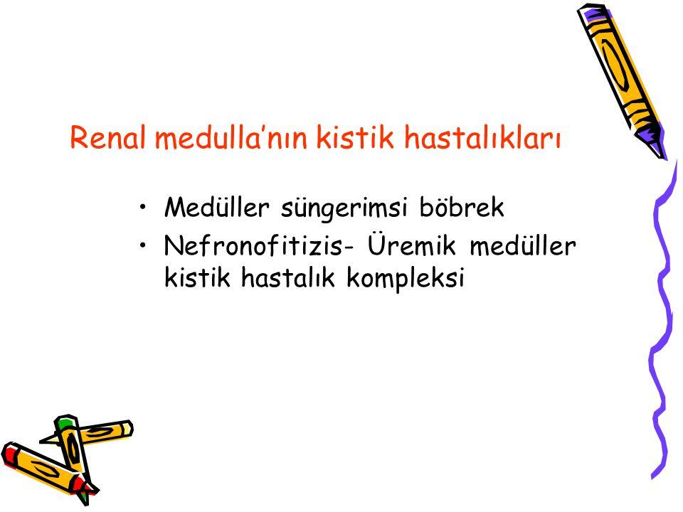 Renal medulla'nın kistik hastalıkları Medüller süngerimsi böbrek Nefronofitizis- Üremik medüller kistik hastalık kompleksi