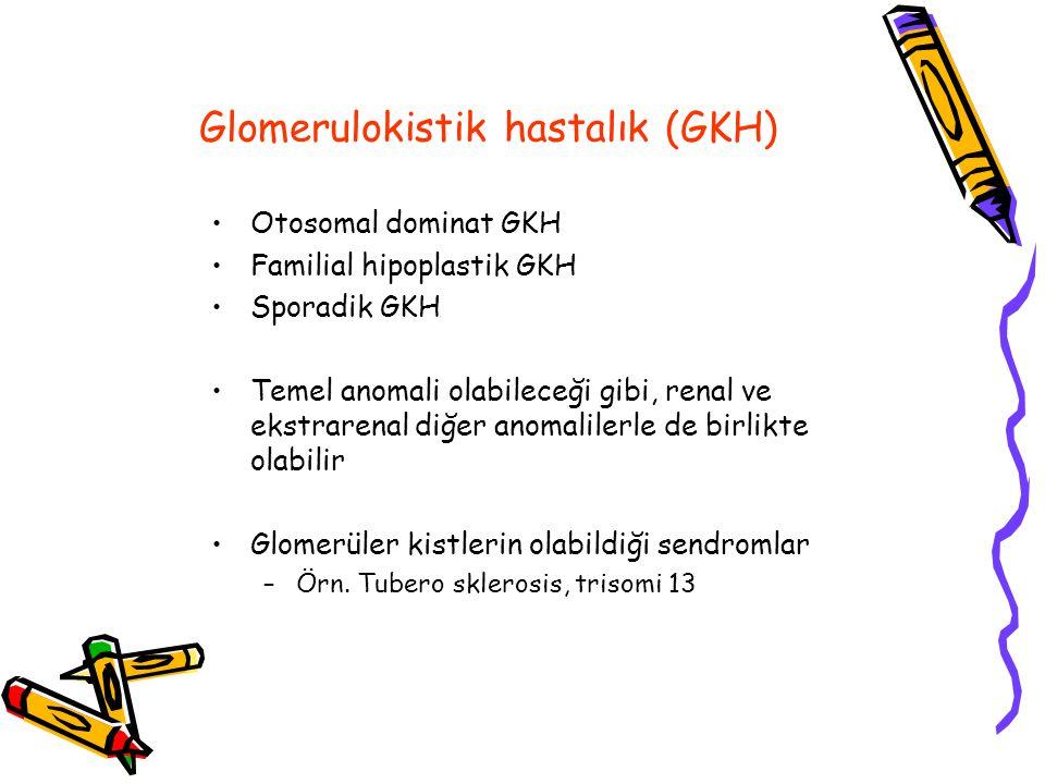 Glomerulokistik hastalık (GKH) Otosomal dominat GKH Familial hipoplastik GKH Sporadik GKH Temel anomali olabileceği gibi, renal ve ekstrarenal diğer anomalilerle de birlikte olabilir Glomerüler kistlerin olabildiği sendromlar –Örn.