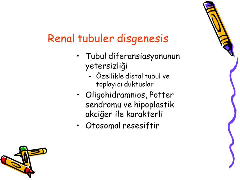 Renal tubuler disgenesis Tubul diferansiasyonunun yetersizliği –Özellikle distal tubul ve toplayıcı duktuslar Oligohidramnios, Potter sendromu ve hipoplastik akciğer ile karakterli Otosomal resesiftir