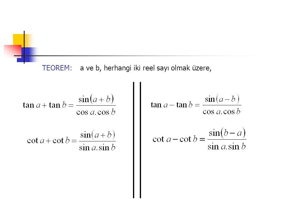TEOREM:a ve b, herhangi iki reel sayı olmak üzere,