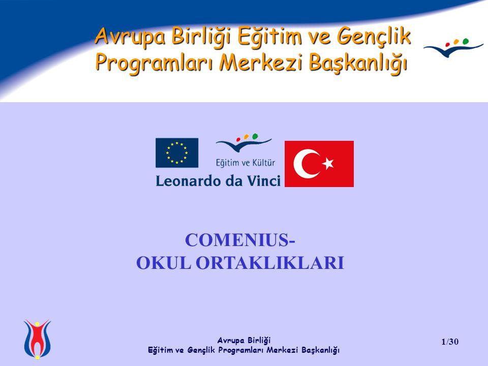 Avrupa Birliği Eğitim ve Gençlik Programları Merkezi Başkanlığı 1/30 Avrupa Birliği Eğitim ve Gençlik Programları Merkezi Başkanlığı COMENIUS- OKUL OR