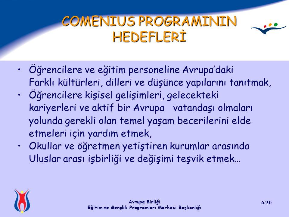 Avrupa Birliği Eğitim ve Gençlik Programları Merkezi Başkanlığı 7/30 COMENIUS PROGRAMINA KİMLER KATILABİLİR.