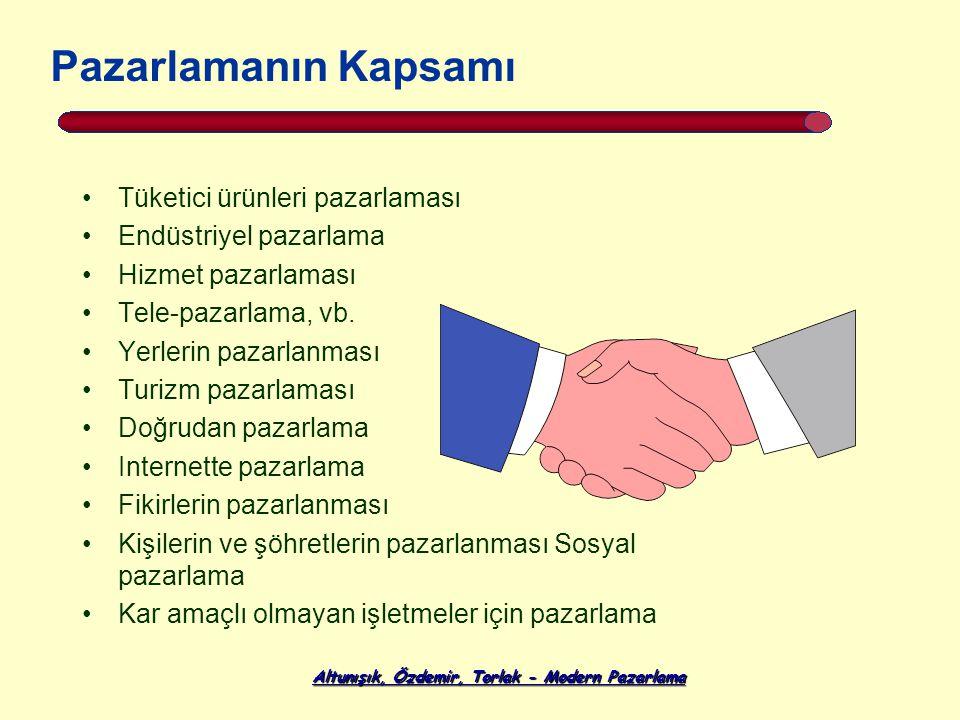 Altunışık, Özdemir, Torlak - Modern Pazarlama Tüketici ürünleri pazarlaması Endüstriyel pazarlama Hizmet pazarlaması Tele-pazarlama, vb. Yerlerin paza