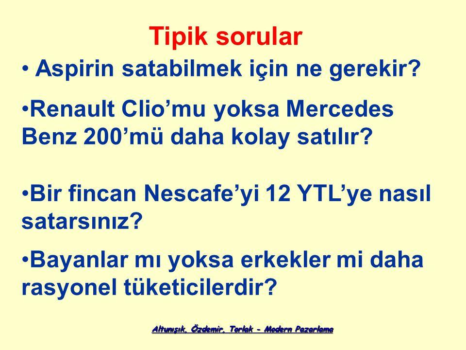 Altunışık, Özdemir, Torlak - Modern Pazarlama Renault Clio'mu yoksa Mercedes Benz 200'mü daha kolay satılır? Tipik sorular Aspirin satabilmek için ne