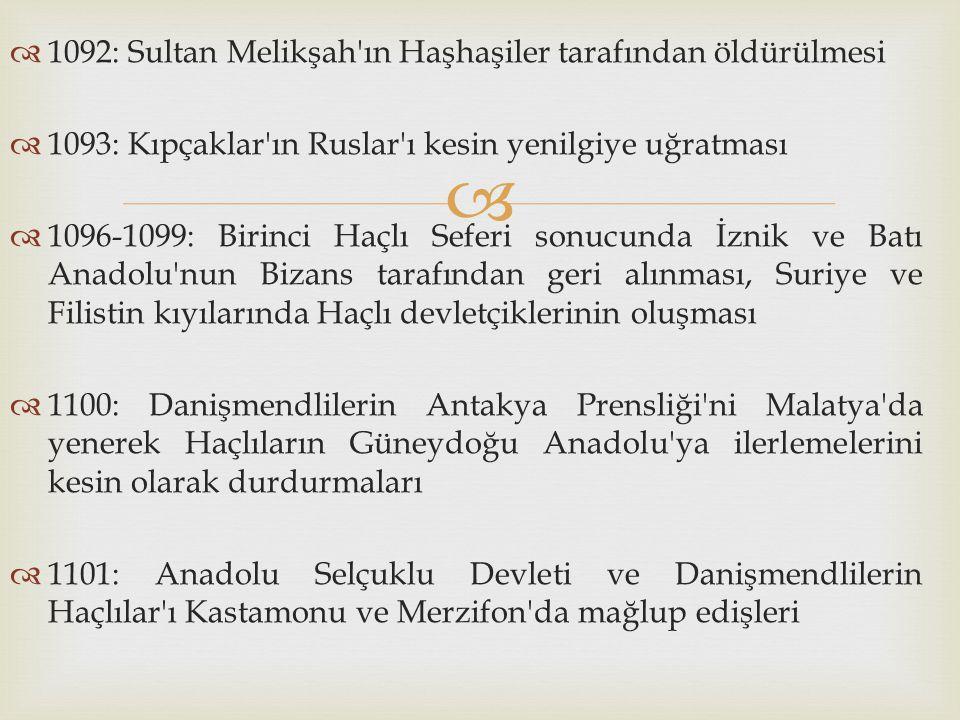  1092: Sultan Melikşah'ın Haşhaşiler tarafından öldürülmesi  1093: Kıpçaklar'ın Ruslar'ı kesin yenilgiye uğratması  1096-1099: Birinci Haçlı Sefe