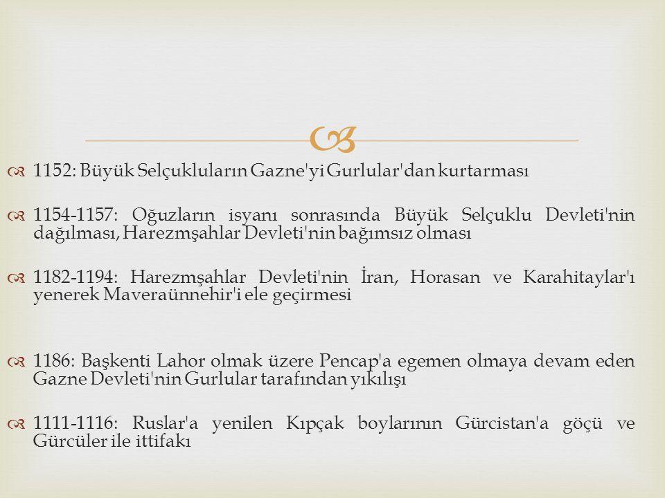   1152: Büyük Selçukluların Gazne'yi Gurlular'dan kurtarması  1154-1157: Oğuzların isyanı sonrasında Büyük Selçuklu Devleti'nin dağılması, Harezmşa