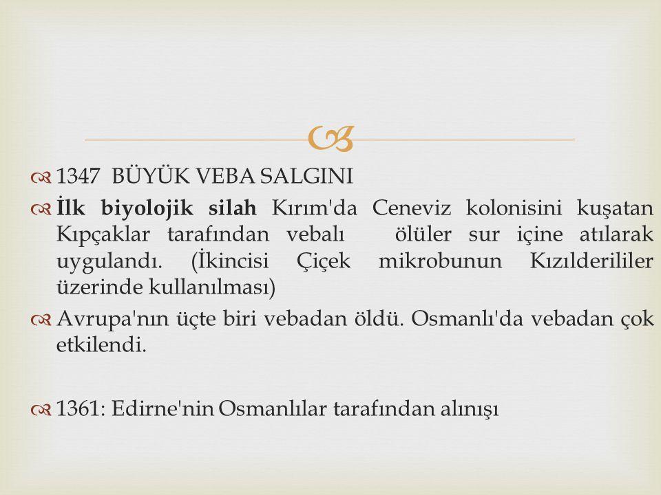   1347 BÜYÜK VEBA SALGINI  İlk biyolojik silah Kırım'da Ceneviz kolonisini kuşatan Kıpçaklar tarafından vebalı ölüler sur içine atılarak uygulandı.