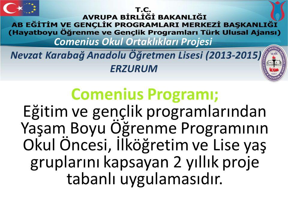 Comenius Programı; Eğitim ve gençlik programlarından Yaşam Boyu Öğrenme Programının Okul Öncesi, İlköğretim ve Lise yaş gruplarını kapsayan 2 yıllık proje tabanlı uygulamasıdır.