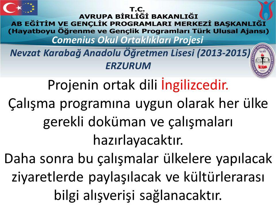 Projeye başlarken… Okulda projenin tanıtılması Proje ekibinin oluşturulması İşbölümü ve görev dağılımının yapılması Comenius Okul Ortaklıkları Projesi Nevzat Karabağ Anadolu Öğretmen Lisesi (2013-2015) ERZURUM