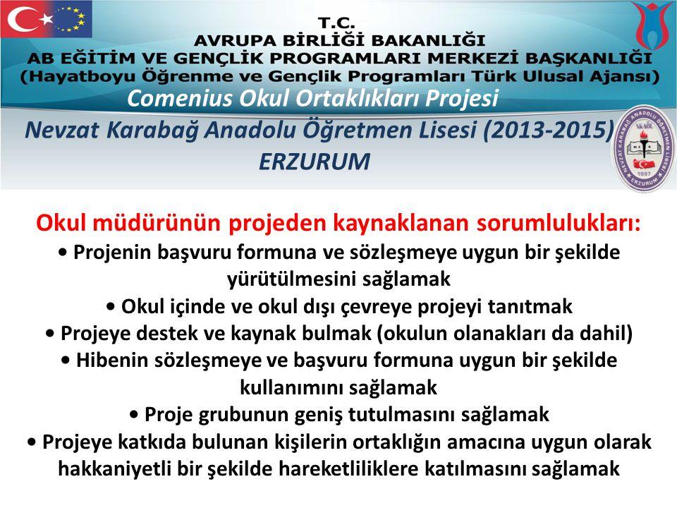 Yapılacak işler – İşbölümü ve Görev Dağılımı Ortaklarla iletişim Faaliyetler Hareketlilikler Ürünler ve sonuçlar İyi bir zaman ve bütçe yönetimi Projenin değerlendirilmesi Projenin tanıtılması ve yaygınlaştırılması Comenius Okul Ortaklıkları Projesi Nevzat Karabağ Anadolu Öğretmen Lisesi (2013-2015) ERZURUM