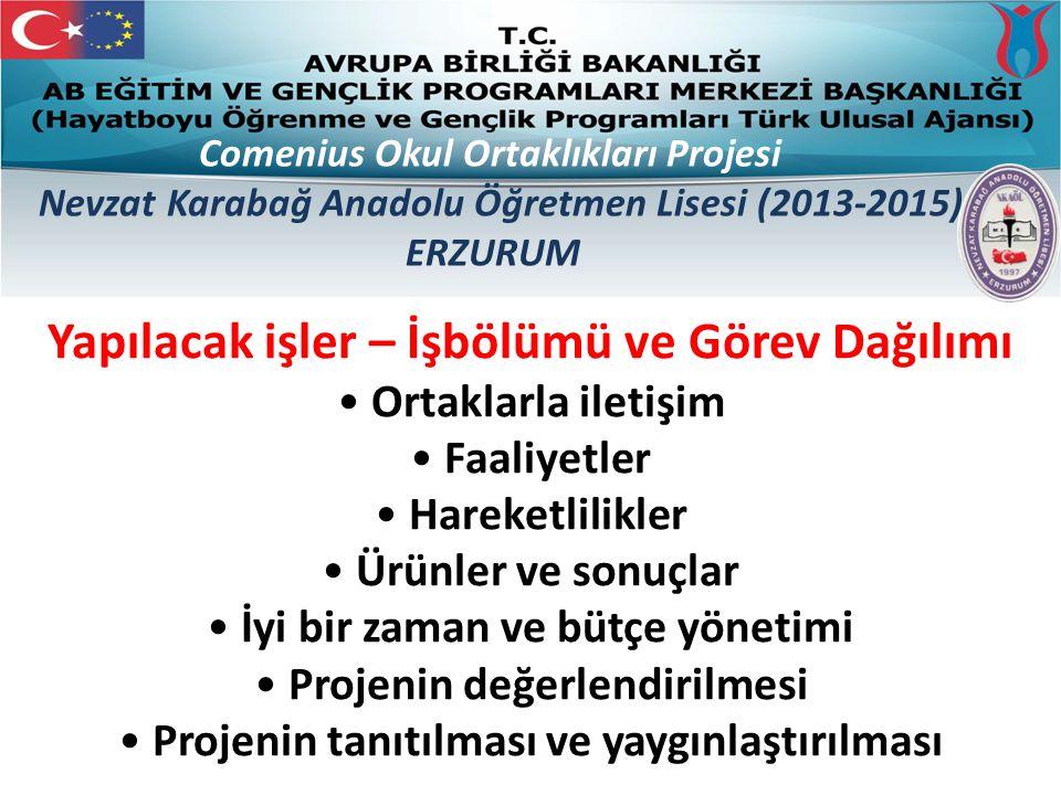 Comenius Okul Ortaklıkları Projesi Nevzat Karabağ Anadolu Öğretmen Lisesi (2013-2015) ERZURUM