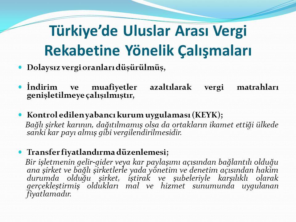 Türkiye'de Uluslar Arası Vergi Rekabetine Yönelik Çalışmaları Dolaysız vergi oranları düşürülmüş, İndirim ve muafiyetler azaltılarak vergi matrahları