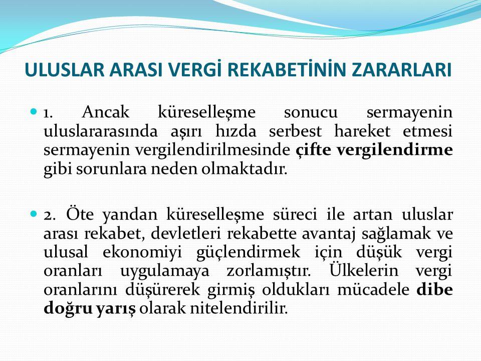 Türkiye'de Uluslar Arası Vergi Rekabetine Yönelik Çalışmaları Dolaysız vergi oranları düşürülmüş, İndirim ve muafiyetler azaltılarak vergi matrahları genişletilmeye çalışılmıştır, Kontrol edilen yabancı kurum uygulaması (KEYK); Bağlı şirket karının, dağıtılmamış olsa da ortakların ikamet ettiği ülkede sanki kar payı almış gibi vergilendirilmesidir.