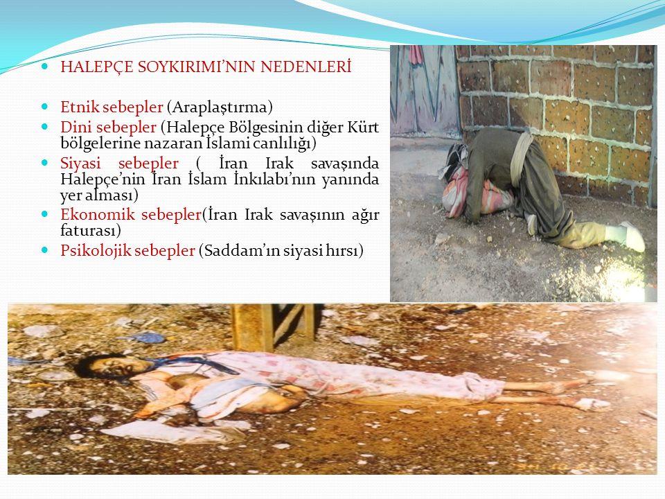HALEPÇE SOYKIRIMI'NIN NEDENLERİ Etnik sebepler (Araplaştırma) Dini sebepler (Halepçe Bölgesinin diğer Kürt bölgelerine nazaran İslami canlılığı) Siyasi sebepler ( İran Irak savaşında Halepçe'nin İran İslam İnkılabı'nın yanında yer alması) Ekonomik sebepler(İran Irak savaşının ağır faturası) Psikolojik sebepler (Saddam'ın siyasi hırsı)